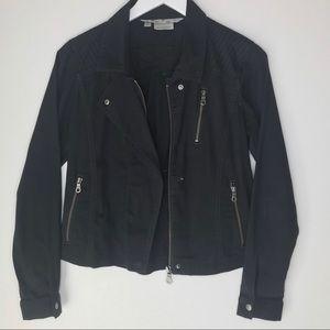 ATHLETA cutie crop moto button down zip jacket.